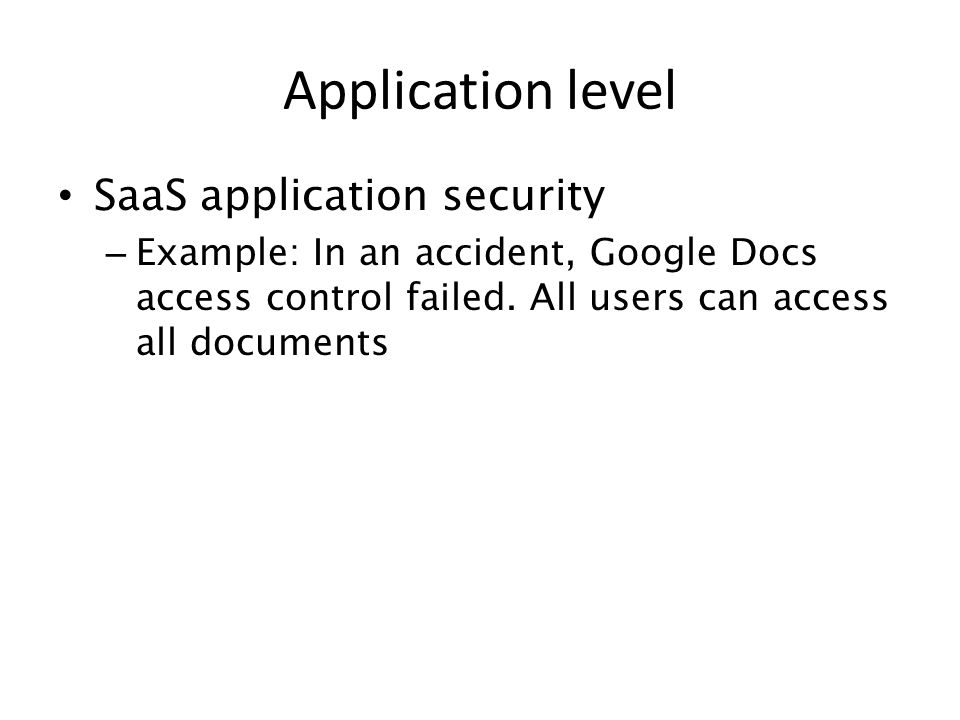 Application level SaaS application security