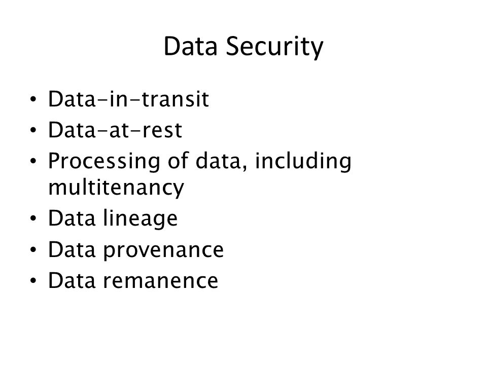 Data Security Data-in-transit Data-at-rest