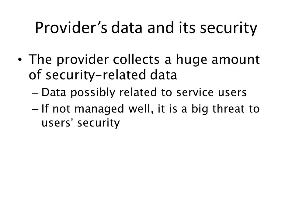 Provider's data and its security
