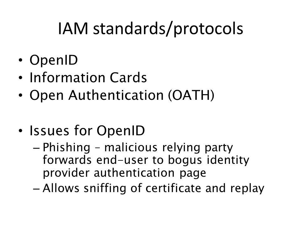 IAM standards/protocols