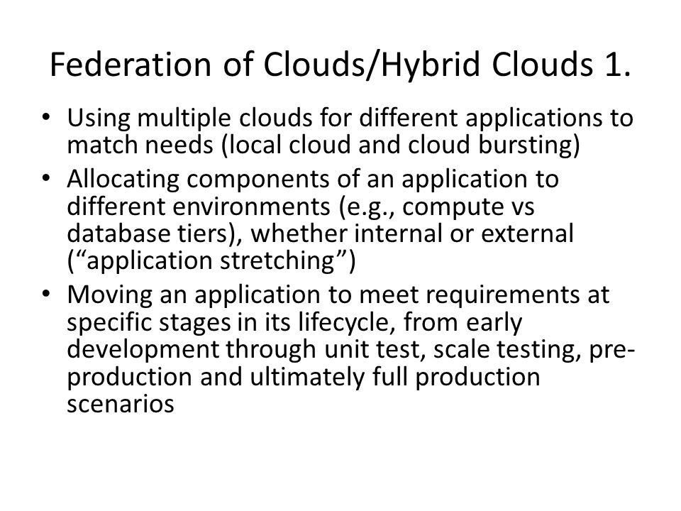 Federation of Clouds/Hybrid Clouds 1.
