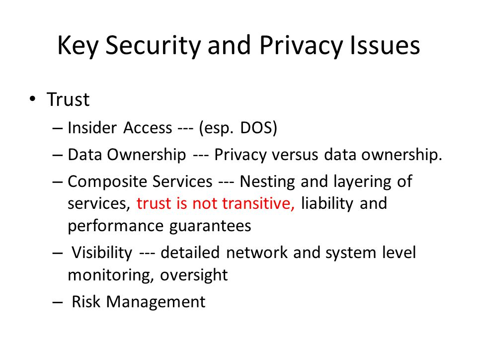 Key Security and Privacy Issues