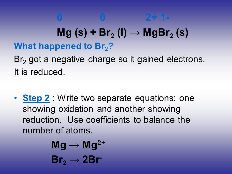 0 0 2+ 1- Mg (s) + Br2 (l) → MgBr2 (s) Mg → Mg2+ Br2 → 2Br-