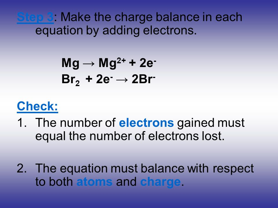 Step 3: Make the charge balance in each equation by adding electrons.