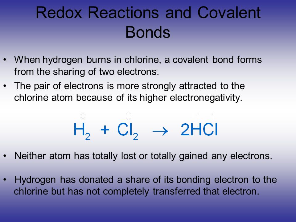 Redox Reactions and Covalent Bonds