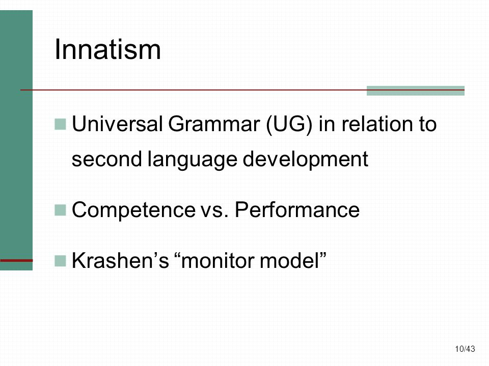 Innatism Universal Grammar (UG) in relation to second language development. Competence vs. Performance.