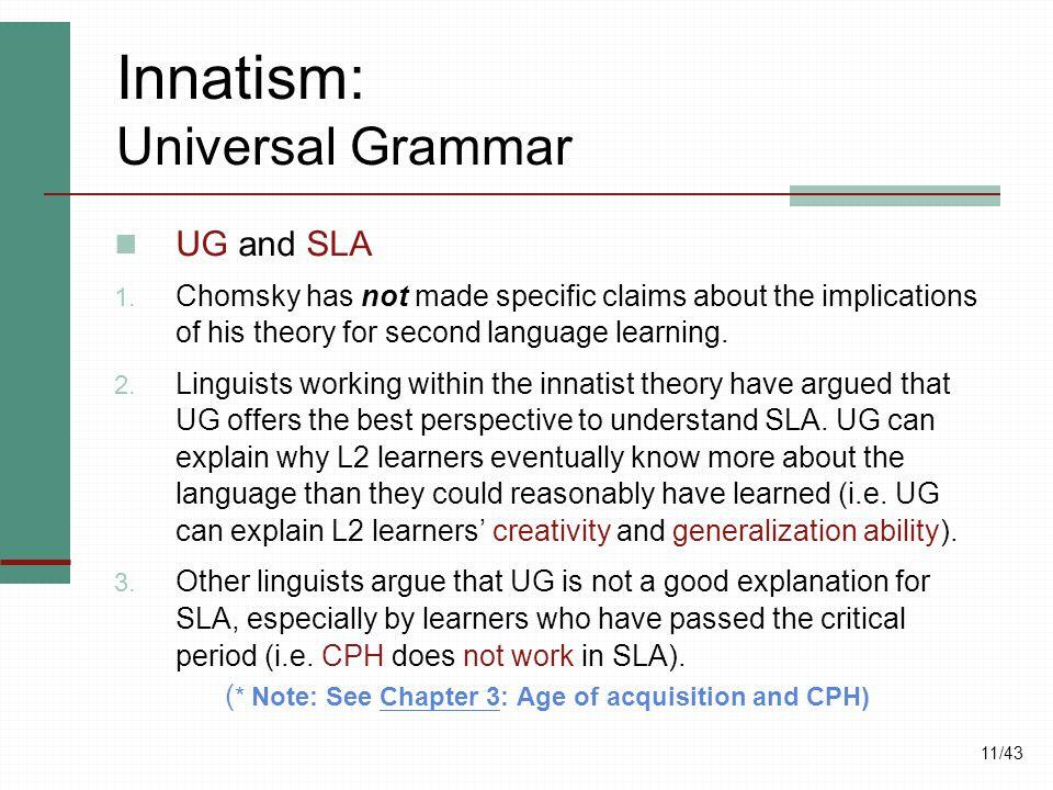 Innatism: Universal Grammar