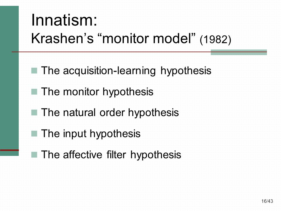 Innatism: Krashen's monitor model (1982)