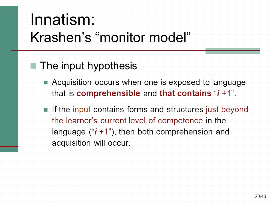 the concept behind krashens theory of comprehensible input states