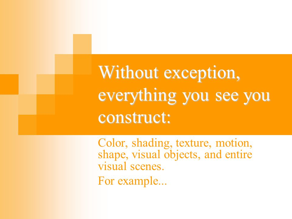 Without exception, everything you see you construct: