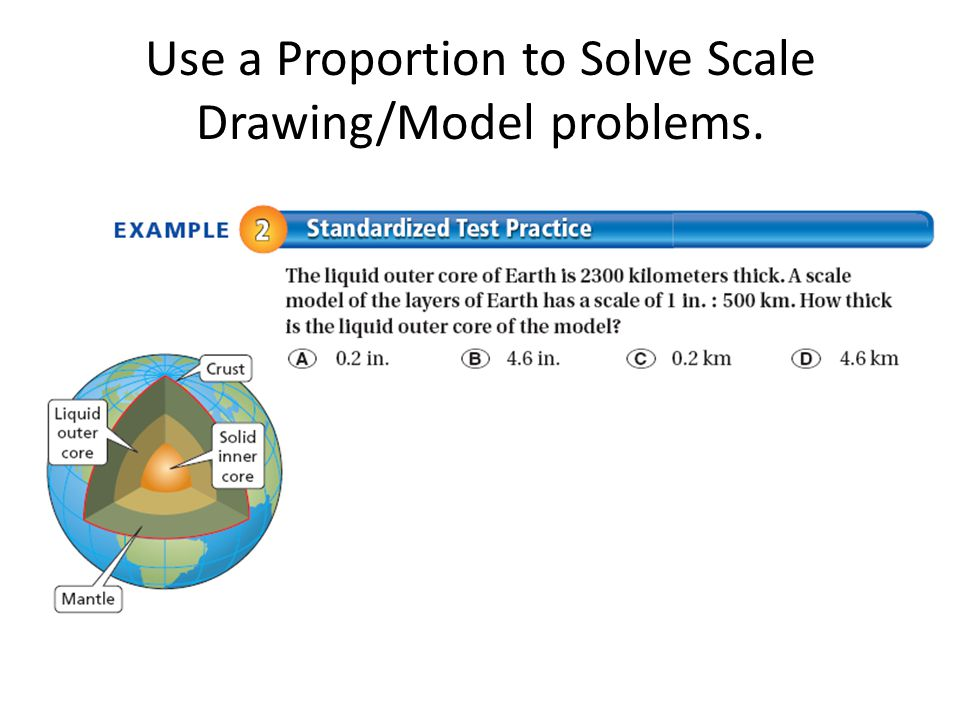Use a Proportion to Solve Scale Drawing/Model problems.