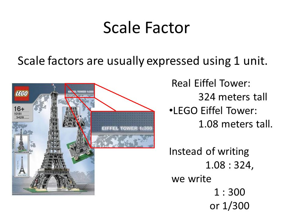 Scale Factor Scale factors are usually expressed using 1 unit.