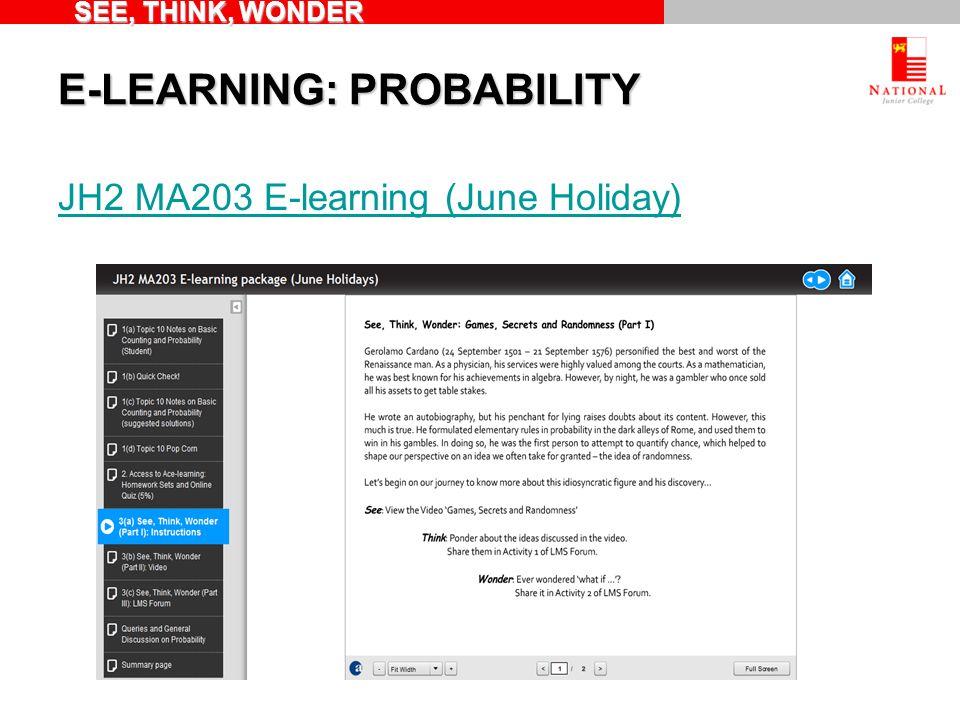 E-LEARNING: PROBABILITY