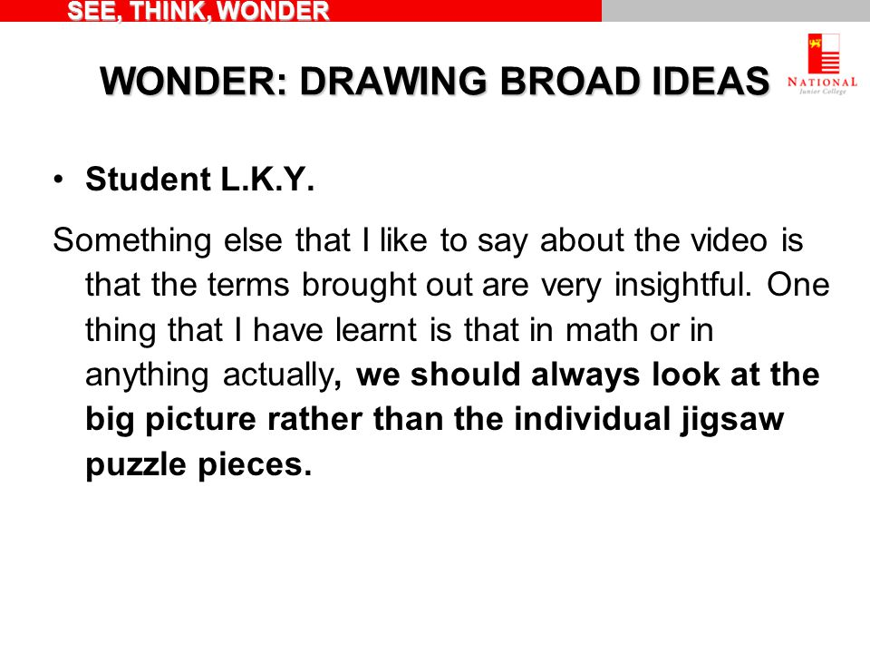 WONDER: DRAWING BROAD IDEAS