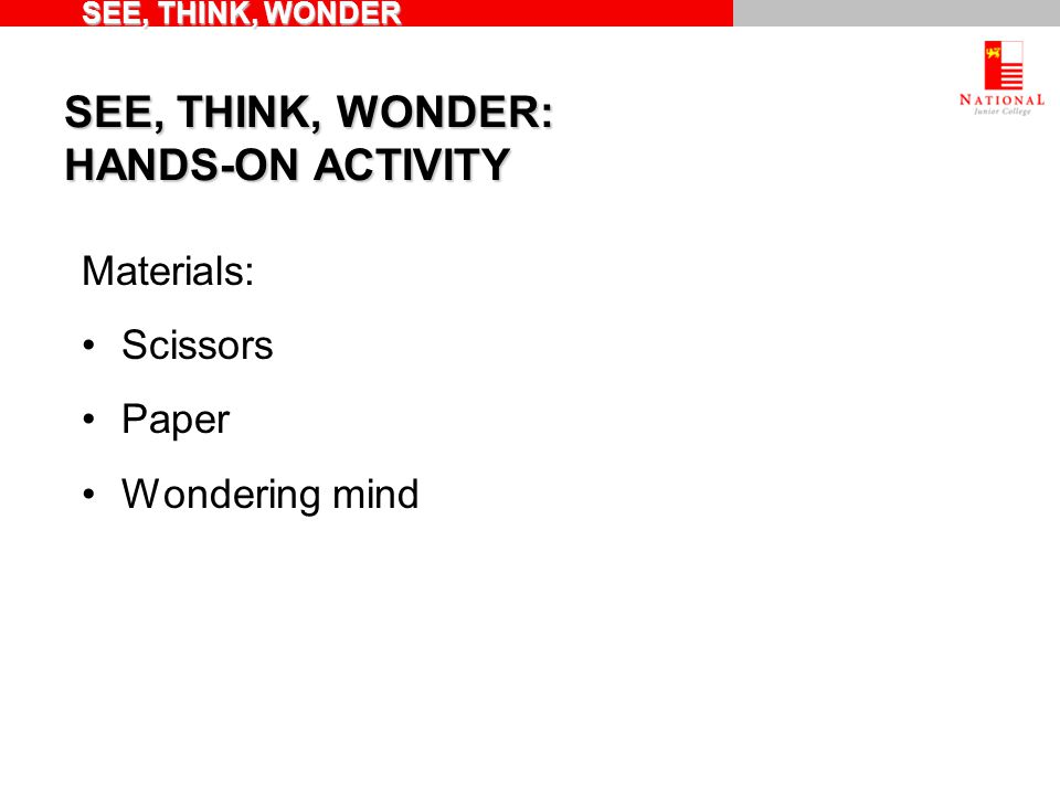 SEE, THINK, WONDER: HANDS-ON ACTIVITY