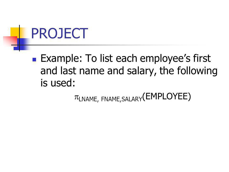 LNAME, FNAME,SALARY(EMPLOYEE)