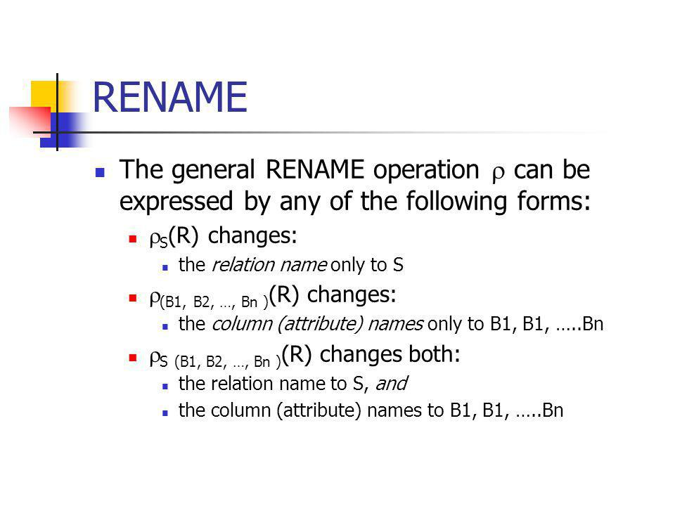 RENAME The general RENAME operation  can be expressed by any of the following forms: S(R) changes: