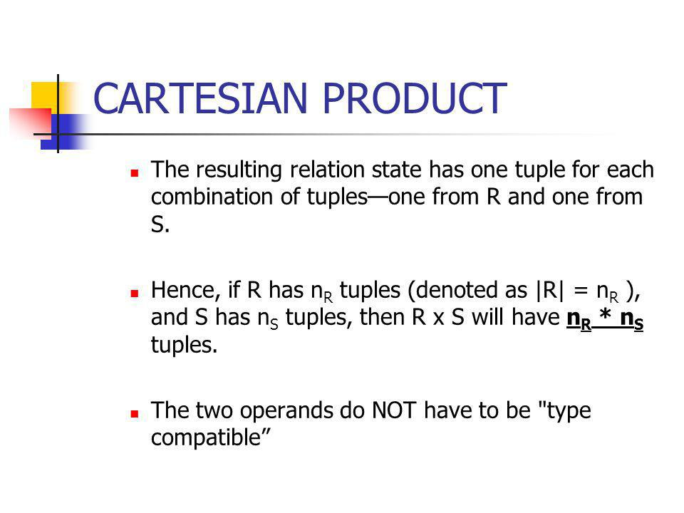 CARTESIAN PRODUCT The resulting relation state has one tuple for each combination of tuples—one from R and one from S.