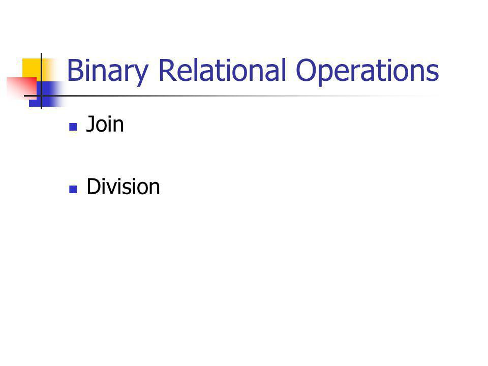 Binary Relational Operations