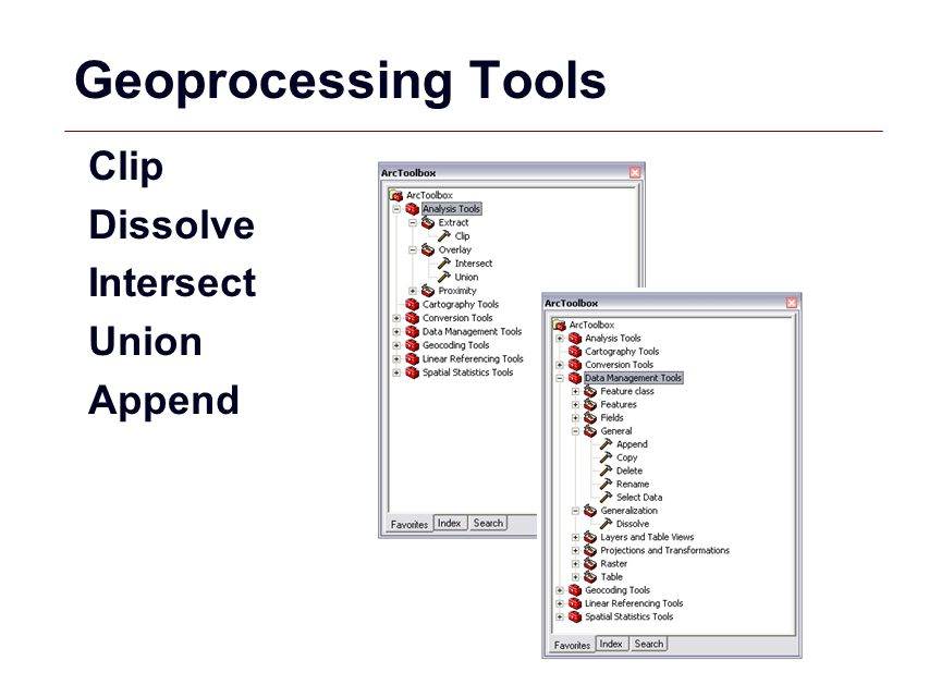 Geoprocessing Tools Clip Dissolve Intersect Union Append
