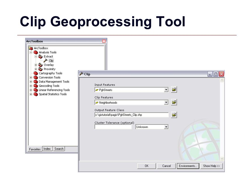 Clip Geoprocessing Tool
