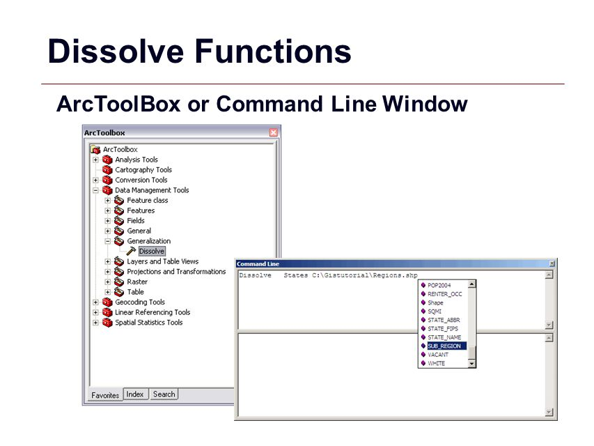 Dissolve Functions ArcToolBox or Command Line Window