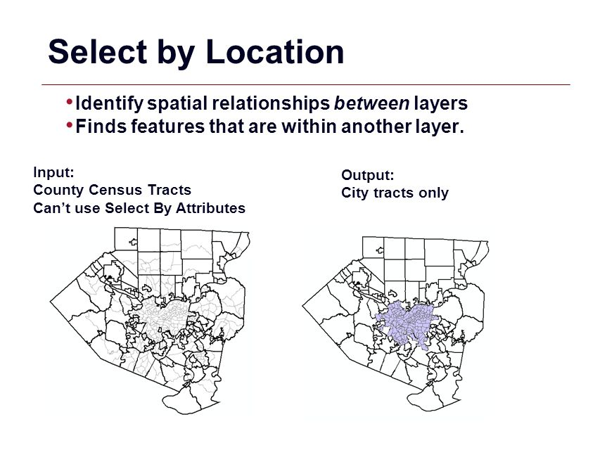 Select by Location Identify spatial relationships between layers
