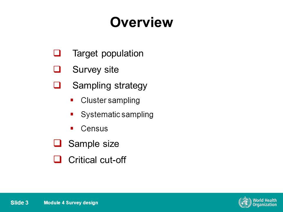 Overview Target population Survey site Sampling strategy Sample size