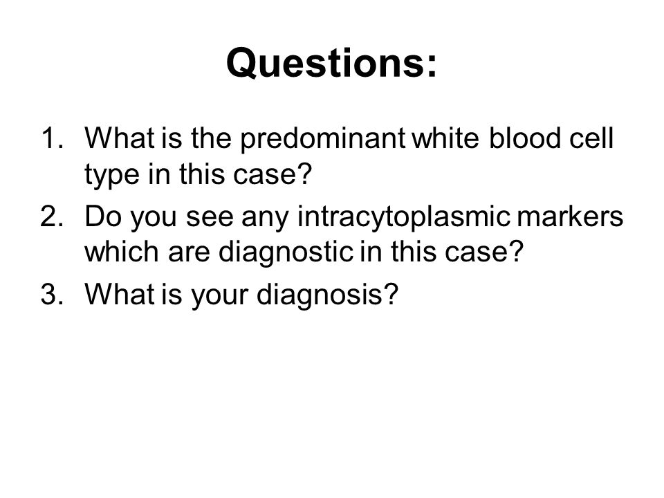 Questions: What is the predominant white blood cell type in this case