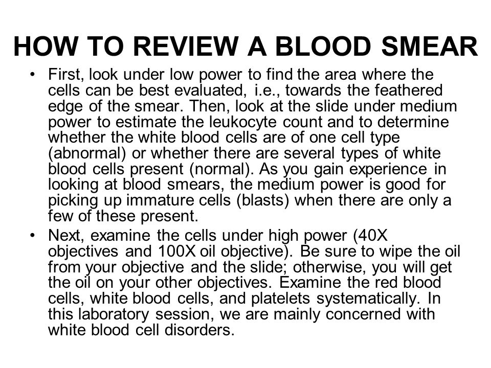 HOW TO REVIEW A BLOOD SMEAR
