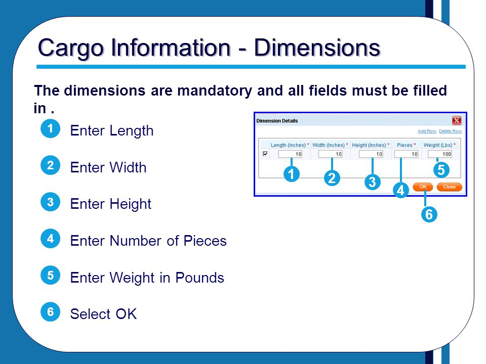 Cargo Information - Dimensions