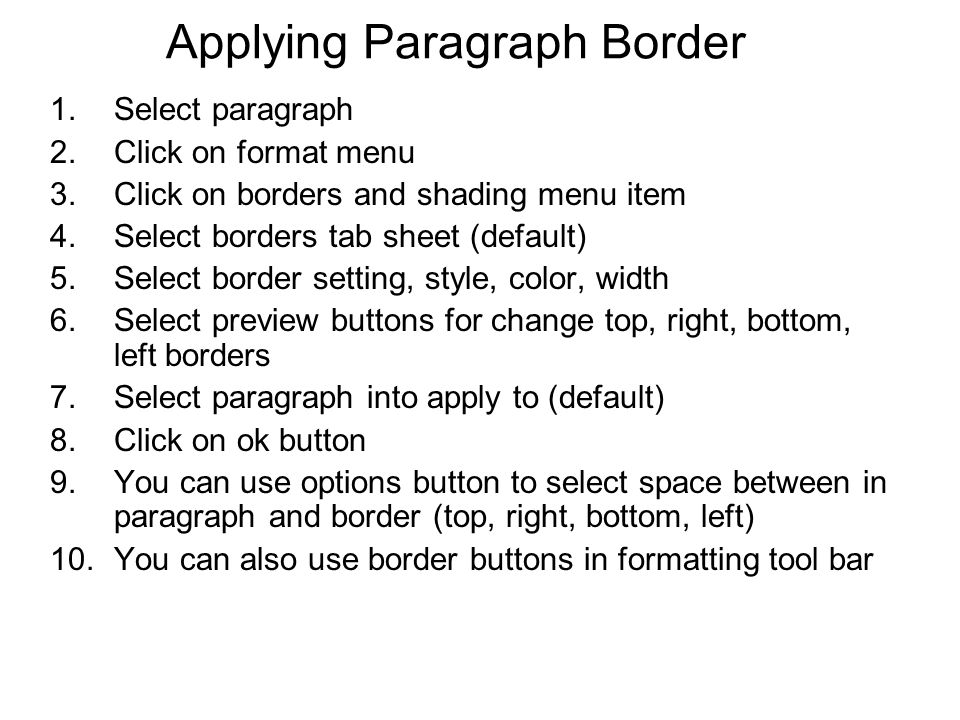 Applying Paragraph Border