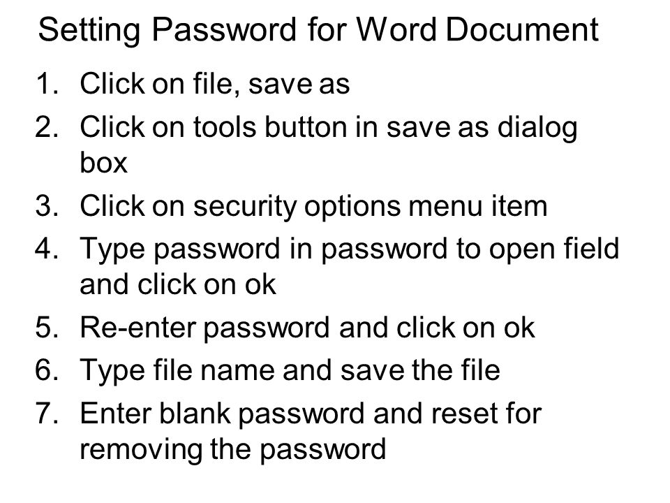 Setting Password for Word Document