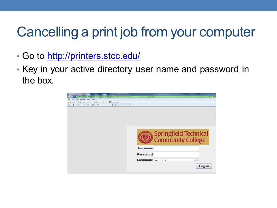 Cancelling a print job from your computer
