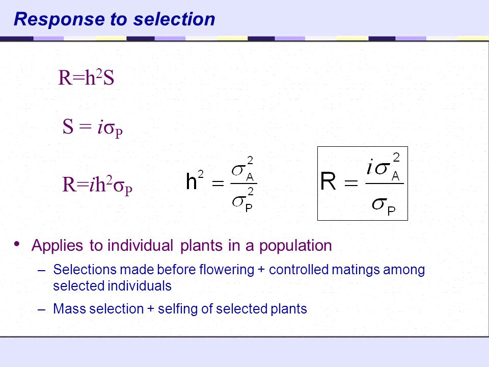 R=h2S S = iσP R=ih2σP Response to selection