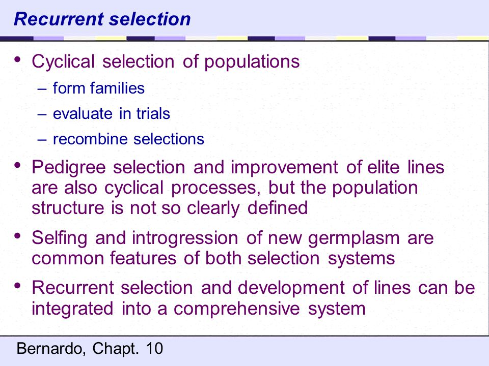 Cyclical selection of populations