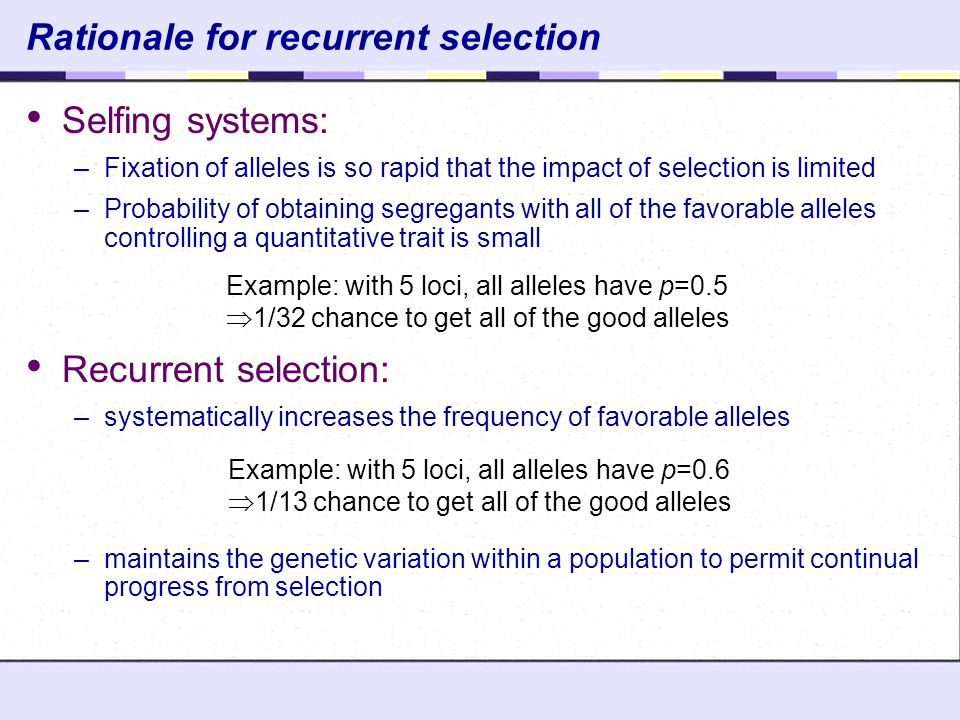 Rationale for recurrent selection