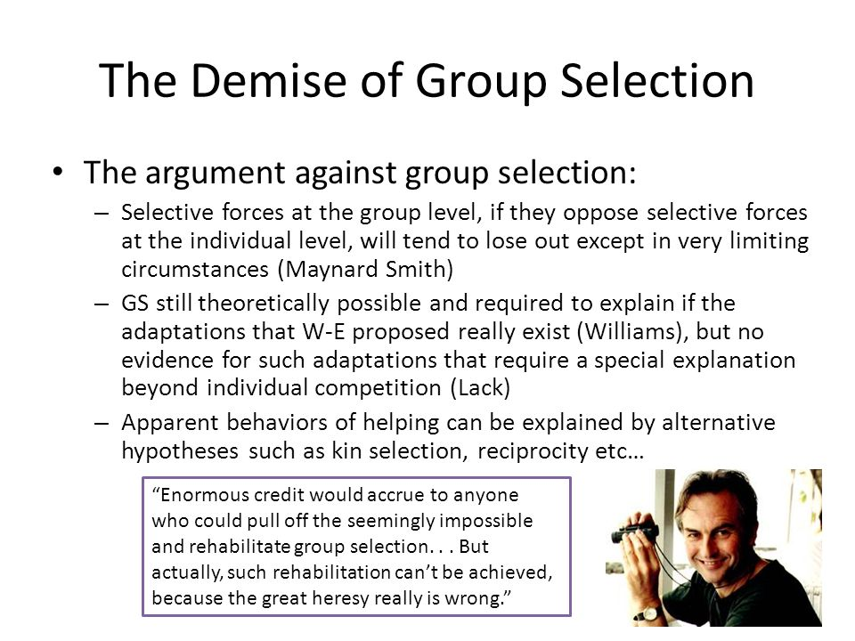 The Demise of Group Selection
