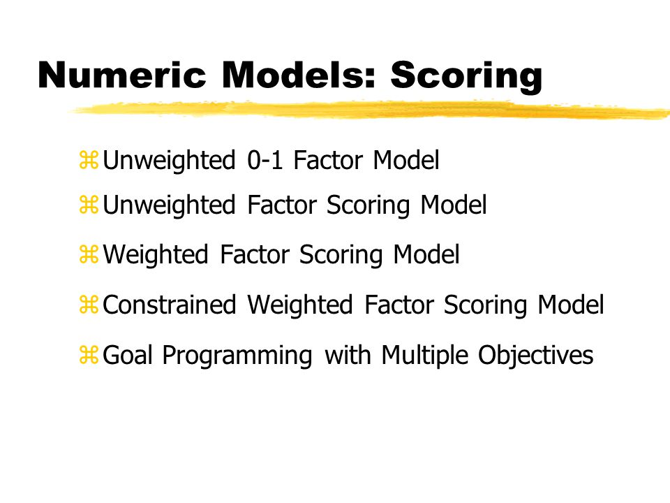 Numeric Models: Scoring