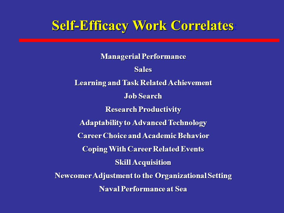 Self-Efficacy Work Correlates: