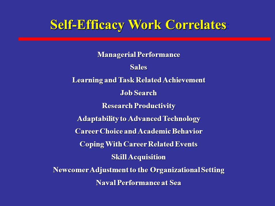 Self-Efficacy Work Correlates:
