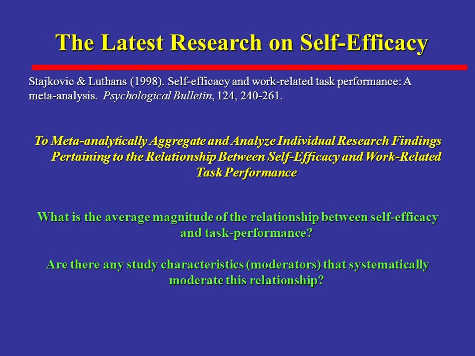 The Latest Research on Self-Efficacy