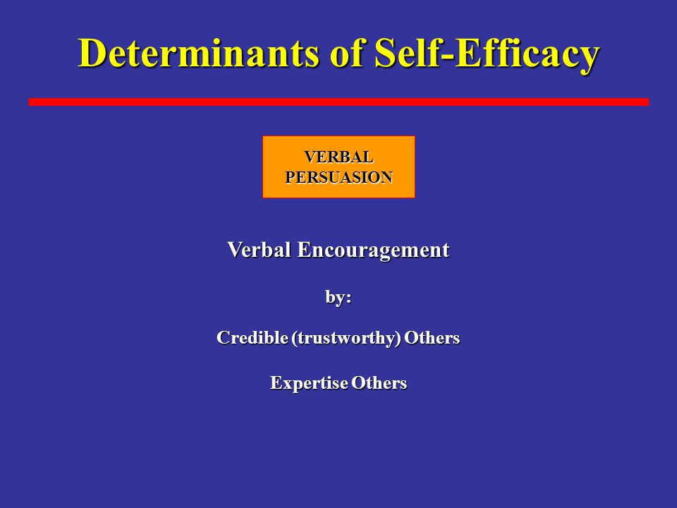 Determinants of Self-Efficacy Credible (trustworthy) Others