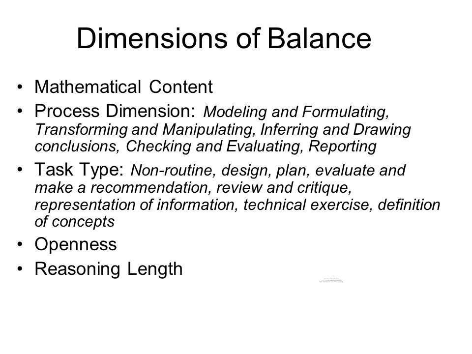 Dimensions of Balance Mathematical Content