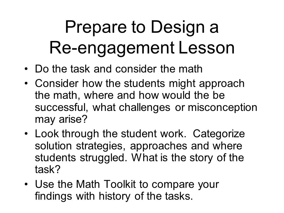 Prepare to Design a Re-engagement Lesson