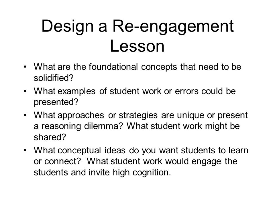 Design a Re-engagement Lesson