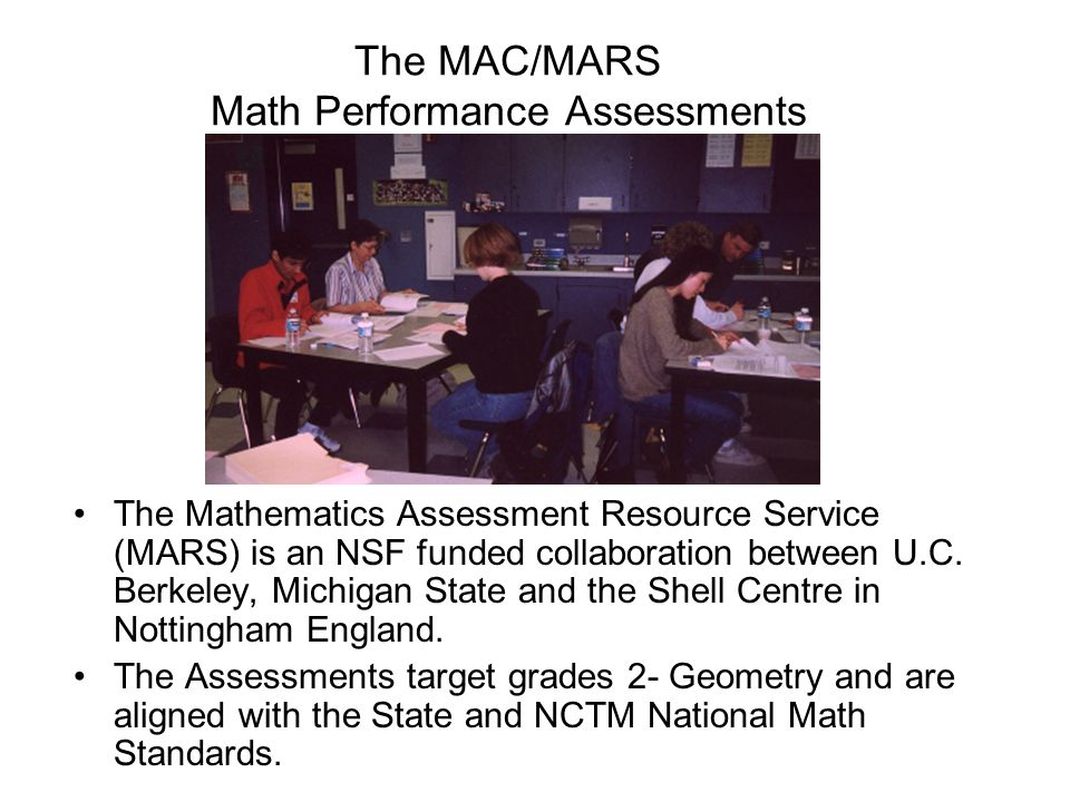 The MAC/MARS Math Performance Assessments
