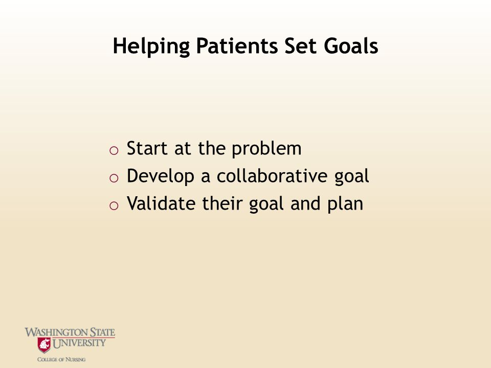 Helping Patients Set Goals