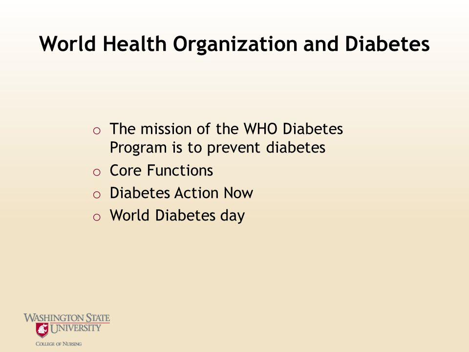 World Health Organization and Diabetes