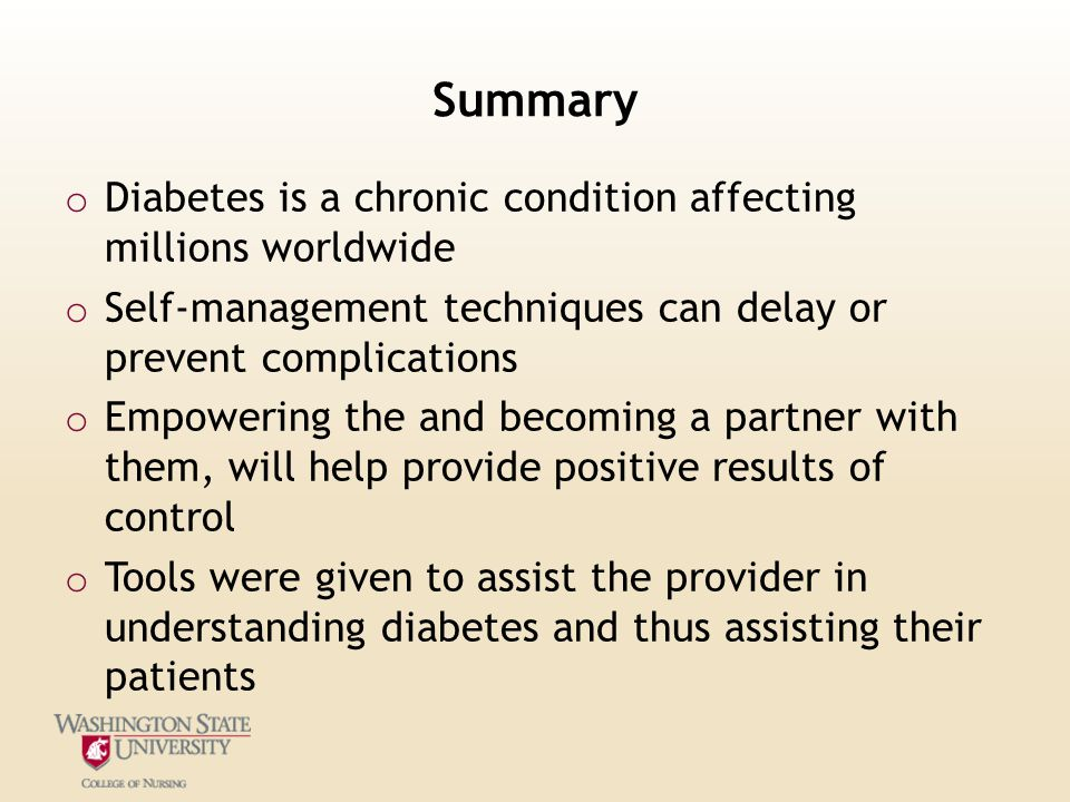 Summary Diabetes is a chronic condition affecting millions worldwide
